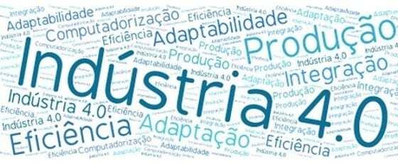 Imagem com diversas informações sobre a indústria 4.0. Palavras de cor azul claro e escuro.